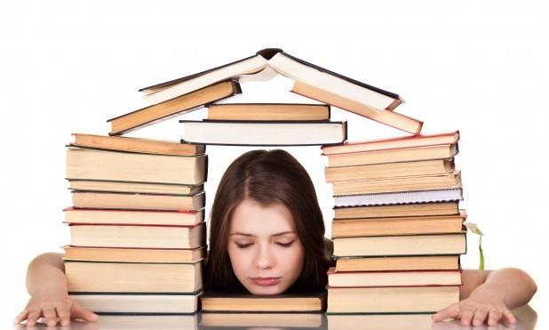 """Eksamen. Bøger bygget som hus, en pige stikker hovedet igennem """"døren"""""""