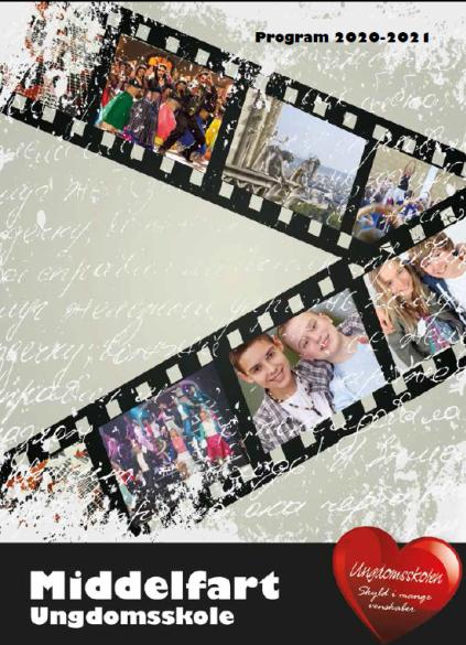 Billede til hjemmeside. Forsiden af ungdomsskolens folder 2020/21. udformet som en filmstribe med billeder i..