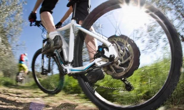 Mountainbike. Mountainbikecykler i bevægelse ved skov/strand