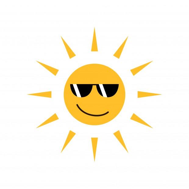 Sol. Tegning af en sol med solbriller.